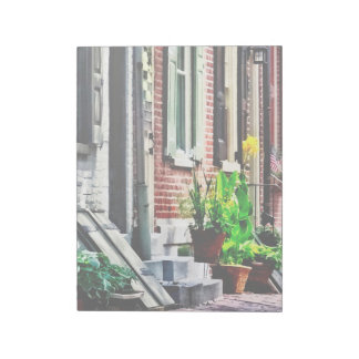 Philadelphia Pa Street With Flower Pots Notepad