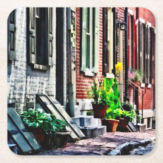 Philadelphia Pa Street With Flower Pots Square Paper Coaster