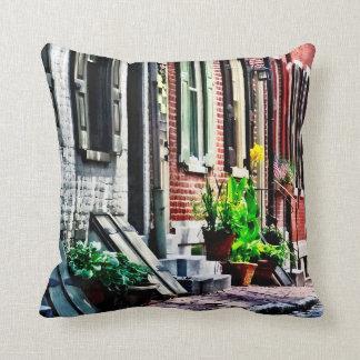 Philadelphia Pa Street With Flower Pots Throw Pillow