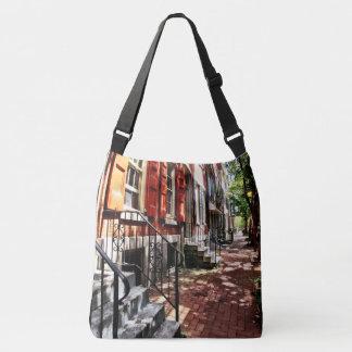 Philadelphia PA Street With Orange Shutters Crossbody Bag