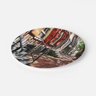 Philadelphia PA Street With Orange Shutters Paper Plate