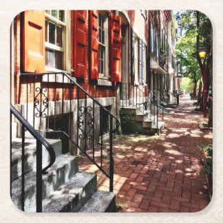 Philadelphia PA Street With Orange Shutters Square Paper Coaster