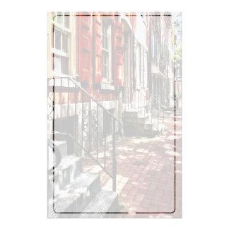 Philadelphia PA Street With Orange Shutters Stationery