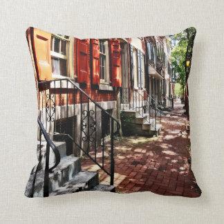 Philadelphia PA Street With Orange Shutters Throw Pillow