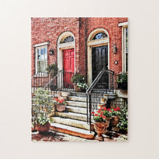 Philadelphia PA - Townhouse With Red Geraniums Jigsaw Puzzle