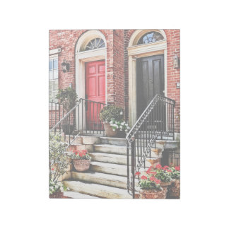 Philadelphia PA - Townhouse With Red Geraniums Notepad