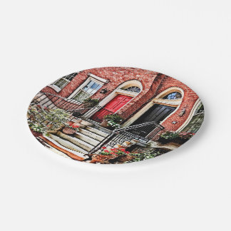 Philadelphia PA - Townhouse With Red Geraniums Paper Plate