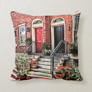Philadelphia PA - Townhouse With Red Geraniums Throw Pillow