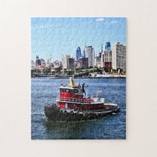 Philadelphia PA - Tugboat by Philadelphia Skyline Jigsaw Puzzle