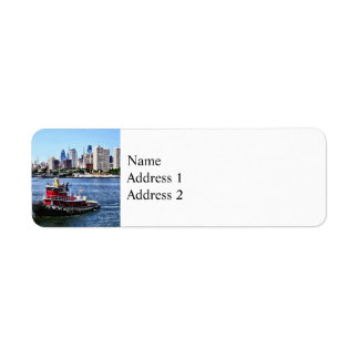 Philadelphia PA - Tugboat by Philadelphia Skyline Return Address Label