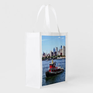 Philadelphia PA - Tugboat by Philadelphia Skyline Reusable Grocery Bag