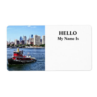 Philadelphia PA - Tugboat by Philadelphia Skyline Shipping Label