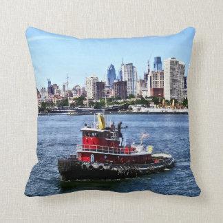 Philadelphia PA - Tugboat by Philadelphia Skyline Throw Pillow