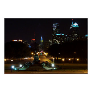 Philadelphia Pennsylvania, Downtown at night. Poster