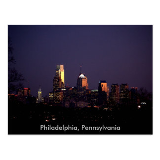 Philadelphia, Pennsylvania nighttime skyline Postcard