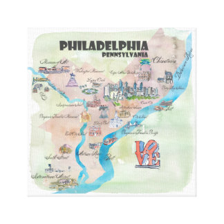 Philadelphia Pennsylvania Retro Vintage Map Canvas Print