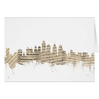 Philadelphia Pennsylvania Skyline Sheet Music City Card