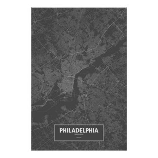 Philadelphia, Pennsylvania (white on black) Poster