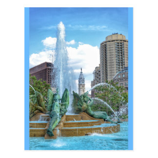 Philadelphia Postcard-City Hall-Swann Fountain Postcard