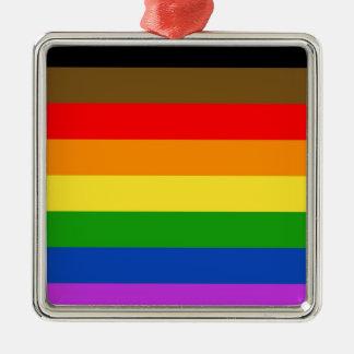 Philadelphia pride flag Silver-Colored square ornament