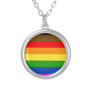 Philadelphia pride flag silver plated necklace