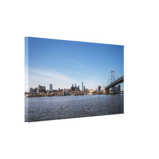 Philadelphia Skyline and Ben Franklin Bridge Canvas Print