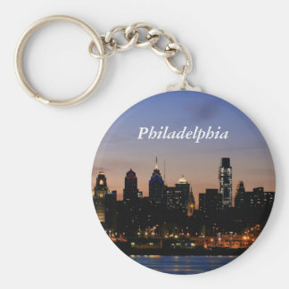 Philadelphia Skyline at Twilight Basic Round Button Keychain
