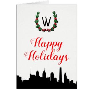Philadelphia Skyline Christmas Happy Holidays Card