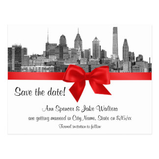 Philadelphia Skyline Etch BW Red Save the Date Postcard