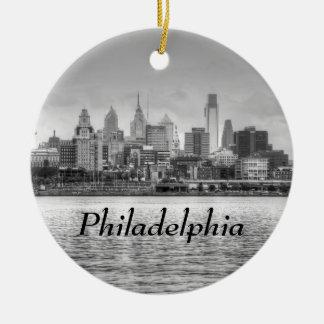 Philadelphia skyline in black and white ceramic ornament