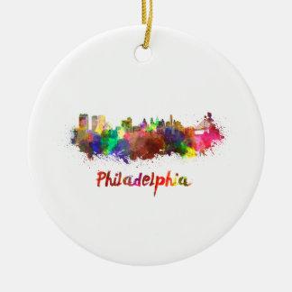 Philadelphia skyline in watercolor ceramic ornament