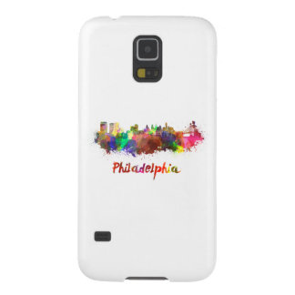 Philadelphia skyline in watercolor galaxy s5 cover