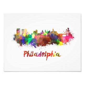 Philadelphia skyline in watercolor photo print