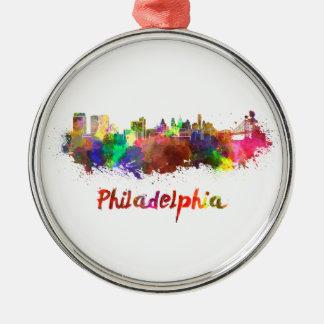 Philadelphia skyline in watercolor Silver-Colored round ornament