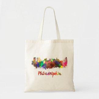 Philadelphia skyline in watercolor tote bag