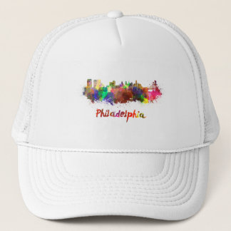 Philadelphia skyline in watercolor trucker hat