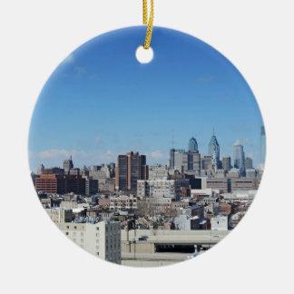 Philadelphia Skyline Round Ceramic Ornament