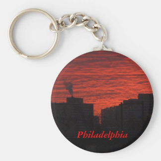 Philadelphia sunrise basic round button keychain