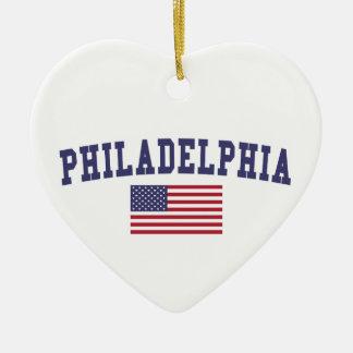 Philadelphia US Flag Ceramic Ornament