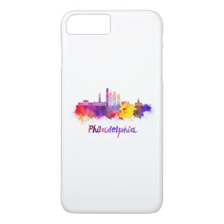 Philadelphia V2 skyline in watercolor iPhone 8 Plus/7 Plus Case