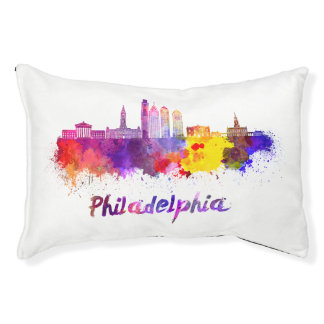 Philadelphia V2 skyline in watercolor Pet Bed