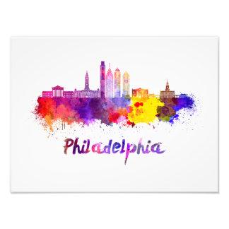 Philadelphia V2 skyline in watercolor Photo Print