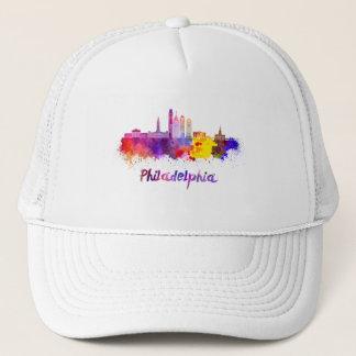 Philadelphia V2 skyline in watercolor Trucker Hat