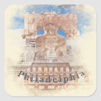 Philadelphia with Liberty Bell & Independence Hall Square Sticker