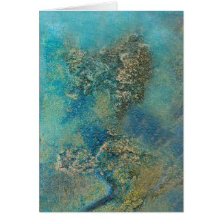 Philip Bowman Ocean Blue And Gold Abstract Art Card