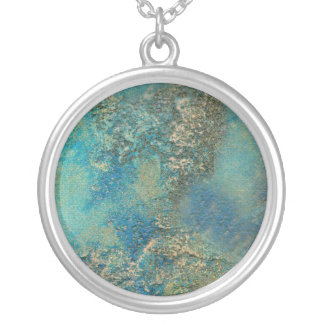 Philip Bowman Ocean Blue And Gold Abstract Art Silver Plated Necklace