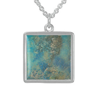 Philip Bowman Ocean Blue And Gold Abstract Art Sterling Silver Necklace
