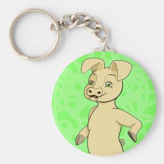 Philip Pig Basic Round Button Keychain