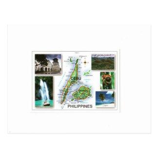 PHILIPINES CEBU/BOHOL MAP POSTCARD