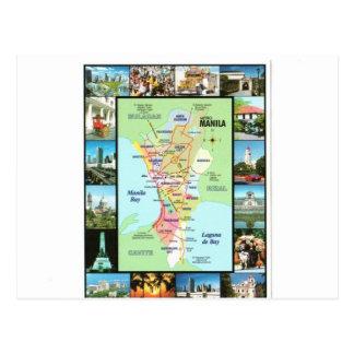 PHILIPINES MANILA MAP POSTCARD